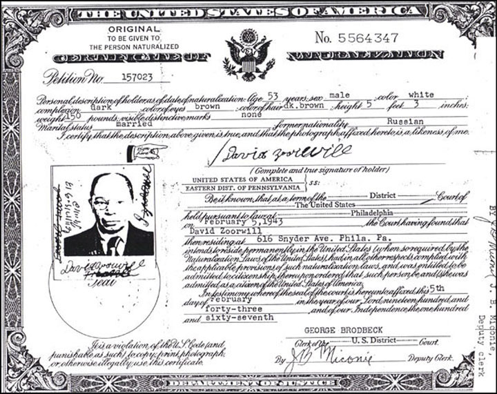 David Certificate of naturalization