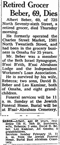 Albert Beber obituary