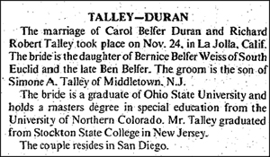 Carol Belfer marriage