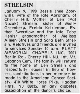 Bessie Strelsin obituary notice