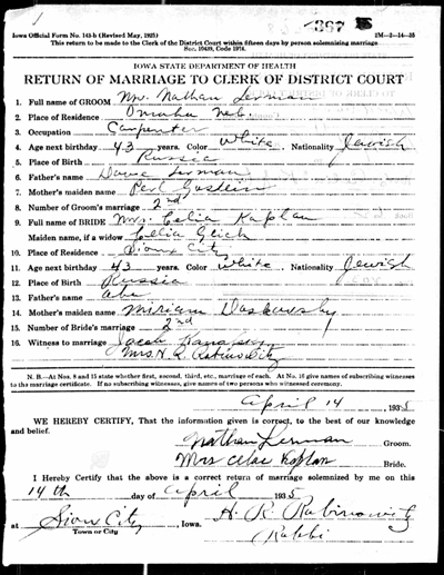 Celia Glick and Nathan Lerman marriage document