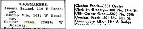 Comisar 1916 listing for shoemaker