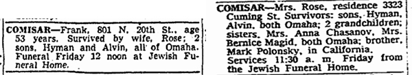 Frank and Rose Comisar obituaries