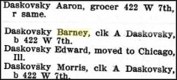 1903 listing in Sioux City directory for the Daskovsky family