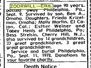 Elka Chaia Zoorwill's obituary