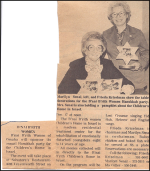Newspaper article about Frieda