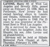 Harry's Obituary
