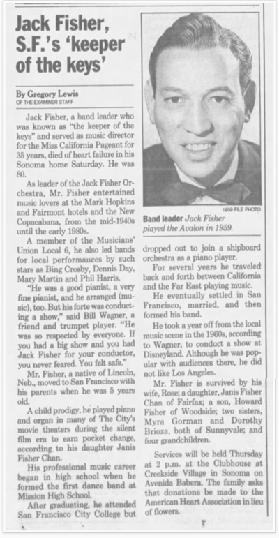 Jack Fisher band leader obituary