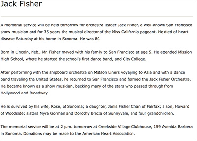 Jack Fisher obituary
