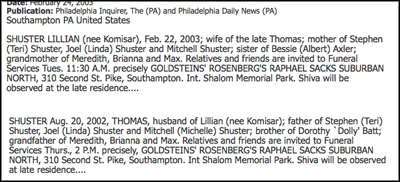 Lillian and Thomas Shuster obituaries