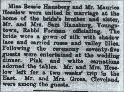 Morris and Bessie marriage announcement from 1913