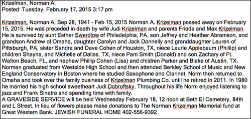 Norman's obituary