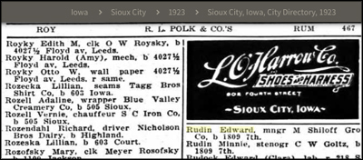 Rudin family in a 1923 Sioux City directory