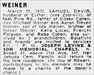 Sam Weiner Obituary