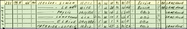 Simon Heselov 1940 census