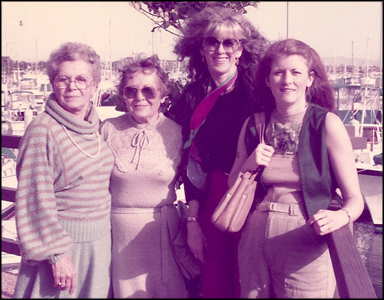 Tobey and Mollie during San Diego visit in 1983 or 84. Also pictured are Joyce and Dayna