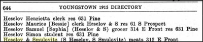 Youngstown directory listing from 1915 showing Heselov family.